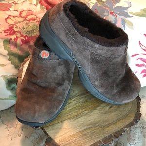 Merrell size 10 Primo Chill SlipOn Suede Fur Clog